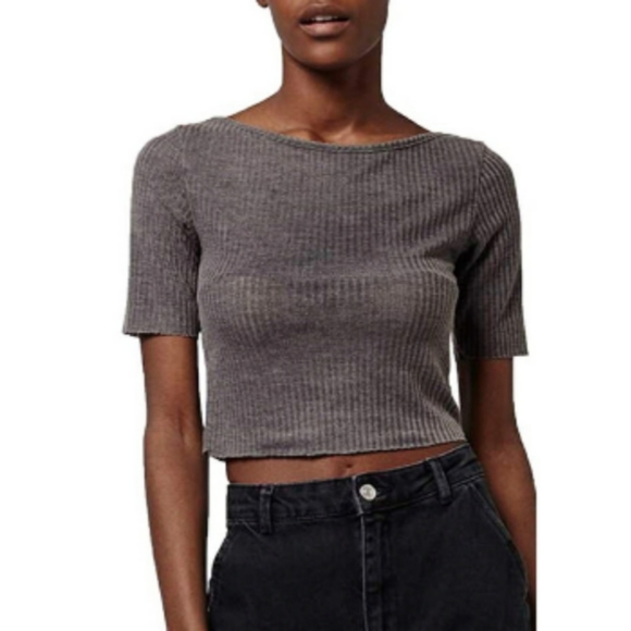 Topshop Ribbed Cropped Boatneck Tee